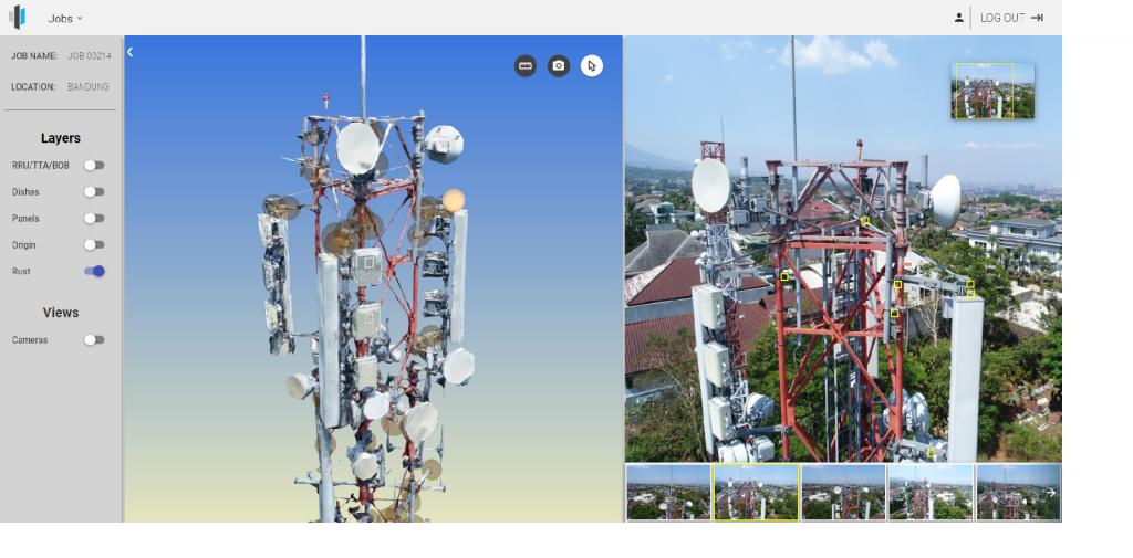 Hasil foto tower menggunakan drone Terra Drone Indonesia