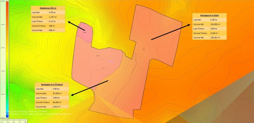Peta kontrur pemetaan topografi menggunakan drone